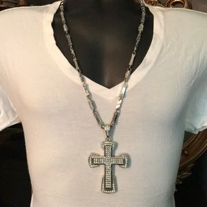 """Silver tone Cross Necklace & """"Blow-Out"""" Wig"""